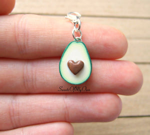 Avocado Half Heart Charm 1.5cm in size - SweetsOfMyOwn