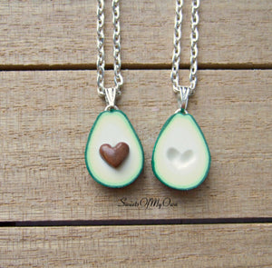Avocado Heart BFF Charms (small) - Set of 2 Halves