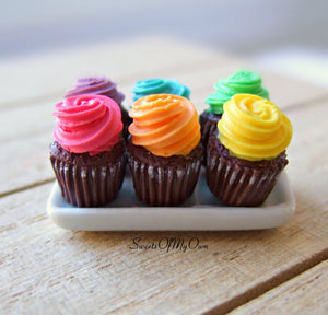 Miniature Chocolate Colourful Cupcakes - Dolls House Miniature
