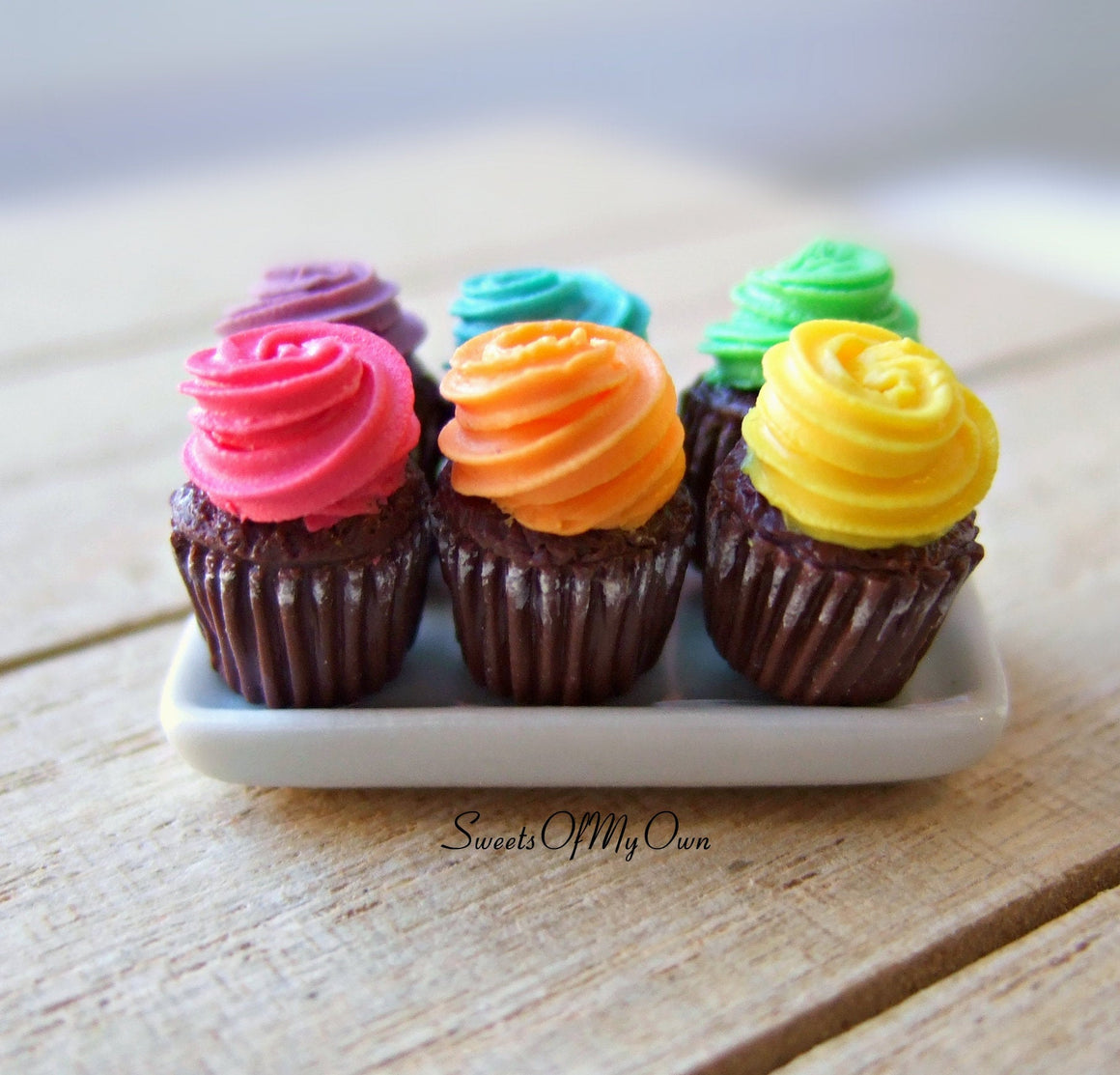 Miniature Chocolate Colourful Cupcakes 1:12 Scale - SweetsOfMyOwn