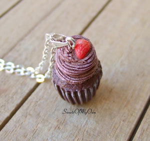 Chocolate and Strawberry Cupcake Charm - SweetsOfMyOwn