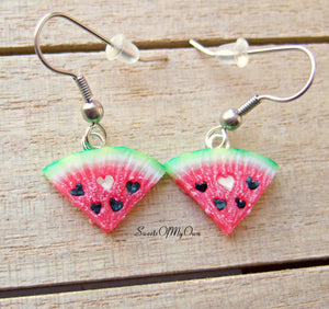 Watermelon Heart Seed - Dangle Earrings - MTO