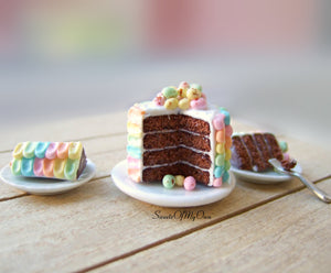 Easter Chocolate Sponge Cake - Colourful Icing - Dolls House Miniature Food - Bakery Item for Doll House 1:12 Scale - Made in the UK - SweetsOfMyOwn