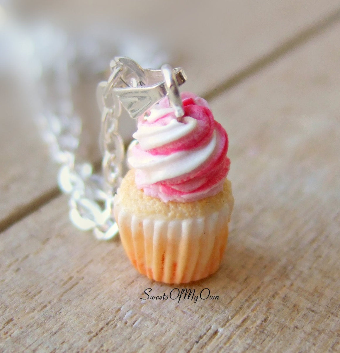 Strawberry and Vanilla Cupcake Charm (small) - Necklace/Charm - MTO