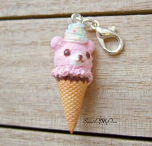 Pink Bear Ice Cream Charm - SweetsOfMyOwn