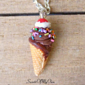 Chocolate and Cream Ice Cream Cone Charm - SweetsOfMyOwn