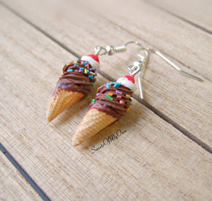 Chocolate and Cream Ice Cream - Dangle Earrings - MTO