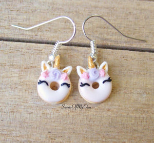 Smiling Unicorn Doughnut Dangle Earrings - SweetsOfMyOwn