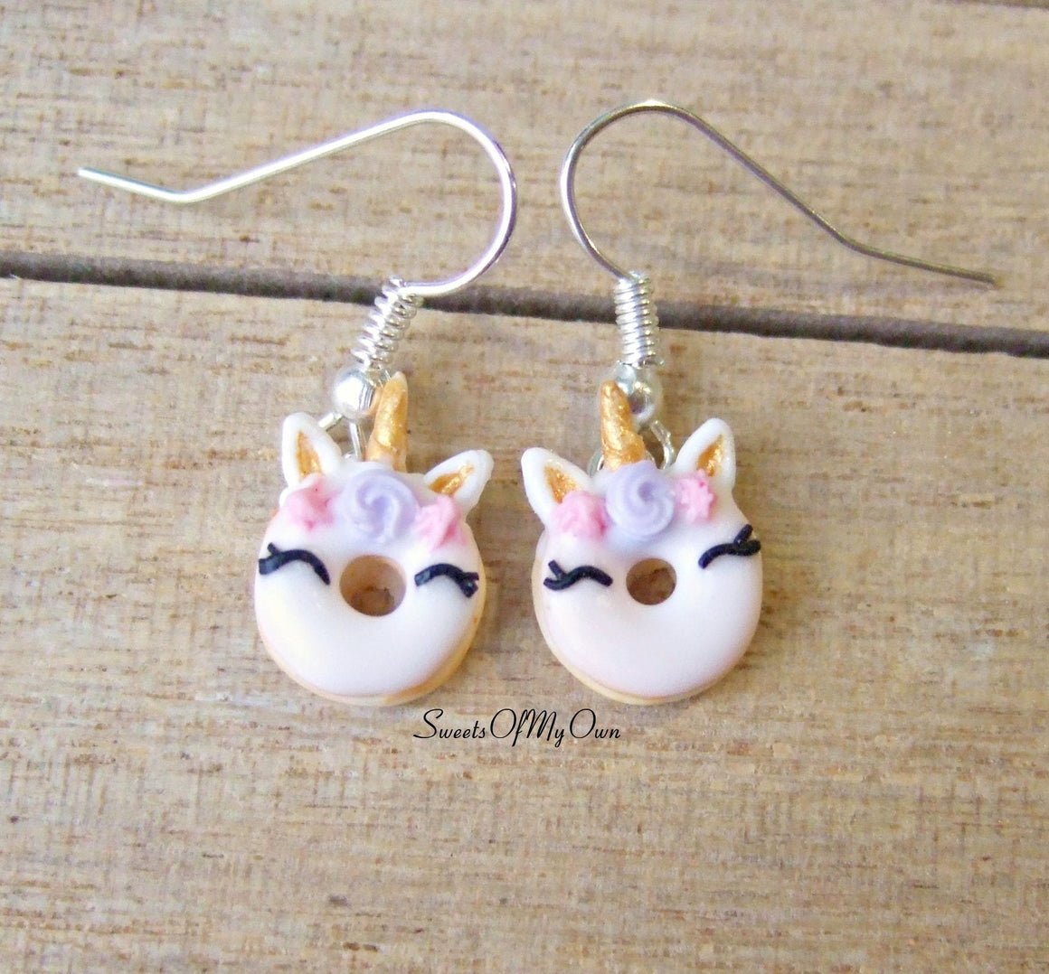 Smiling Unicorn Doughnut Dangle Earrings