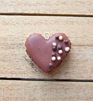 Chocolate Heart Macaron Coloured Ball Sprinkles Charm - SweetsOfMyOwn