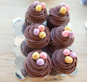 Miniature Chocolate Swirl Frosting Mini Egg Cupcakes - Doll House 1:12 Scale
