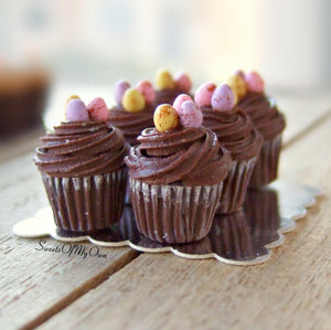 MTO - Miniature Chocolate Swirl Frosting Mini Egg Cupcakes - Set of 6 Cupcakes -1:12 Scale - SweetsOfMyOwn