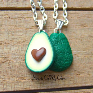 Avocado Heart BFF Charms (small) - Set of 2 Halves - SweetsOfMyOwn