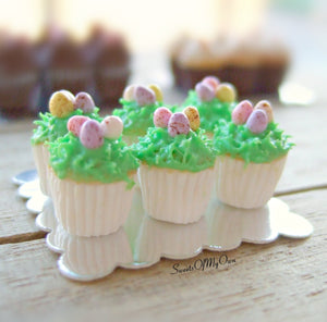 Miniature Mini Eggs on Grass Cupcakes - Doll House 1:12 Scale