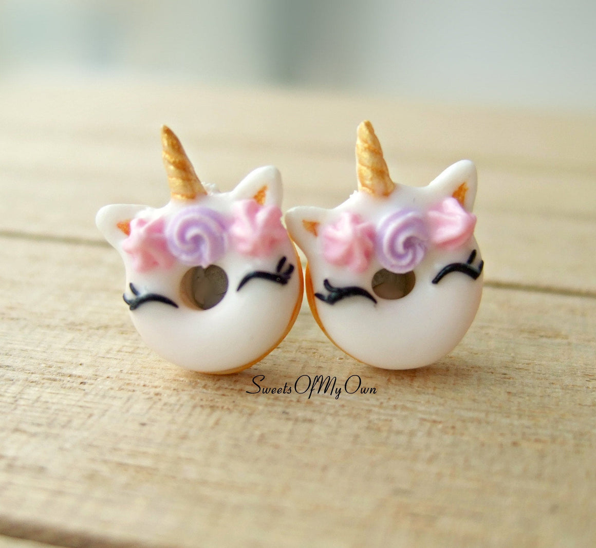 Smiling Unicorn Doughnut Earrings Stud Earrings