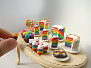 Miniature Rainbow Cake with Rainbow Icing Back 1:12 Scale - SweetsOfMyOwn