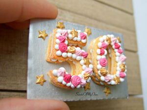 Miniature 50 Number Cake Miniature 1:12 Scale - SweetsOfMyOwn