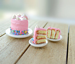 Pink Rainbow Sprinkles Cake Miniature 1:12 Scale - SweetsOfMyOwn