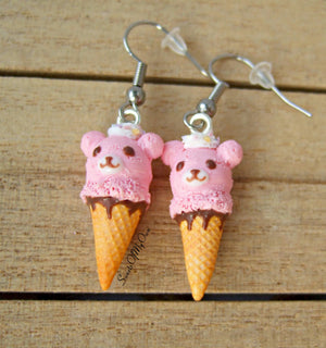 Pink Bear Ice Cream Dangle Earrings