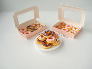 Miniature Box of Striped Doughnuts 1:12 Scale - SweetsOfMyOwn