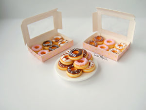 Miniature Plate of Mixed Doughnuts 1:12 Scale - SweetsOfMyOwn