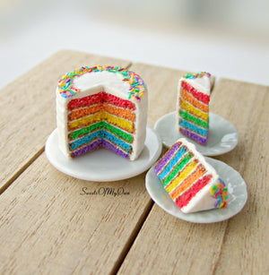Rainbow Cake with Sprinkles Miniature 1:12 Scale - SweetsOfMyOwn