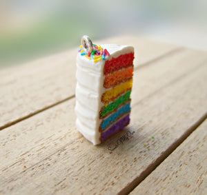 Rainbow Cake with Sprinkles Charm
