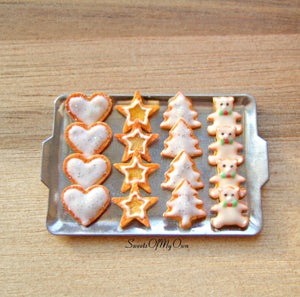 Miniature Christmas Biscuit Set - Shortbread Heart, Star, Tree, Bear 1:12 Scale - SweetsOfMyOwn
