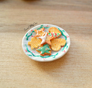 Plate of Miniature Christmas Biscuits - Shortbread + Wafer Star, Tree, Heart 1:12 Scale