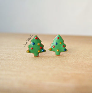 Gingerbread Christmas Tree Biscuit Stud Earrings - SweetsOfMyOwn