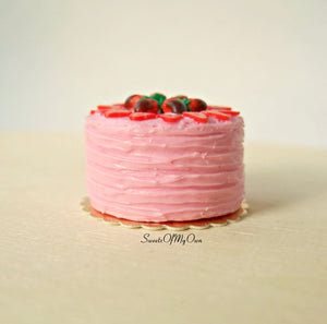 Pink Strawberry Cake Miniature 1:12 Scale