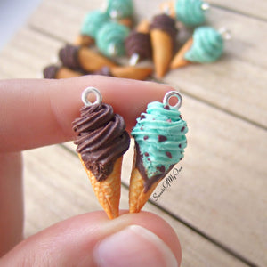 Mint Chocolate Chip Ice Cream Dangle Earrings - SweetsOfMyOwn
