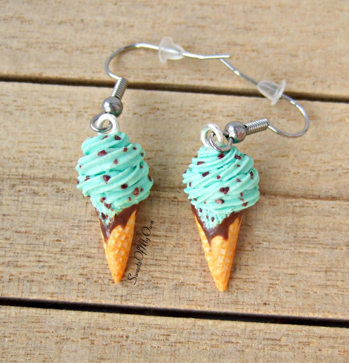 Mint Chocolate Chip Ice Cream Dangle Earrings