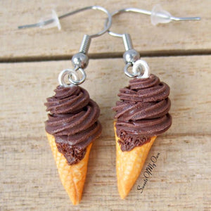 Chocolate Swirly Ice Cream - Dangle Earrings