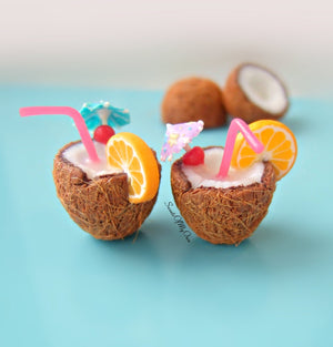 Miniature Coconut Cocktail - Summer Dollhouse Food 1:12 Scale - MTO
