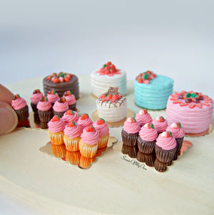 Miniature Chocolate Pink Strawberry Cupcakes 1:12 Scale - Set of 6 - SweetsOfMyOwn