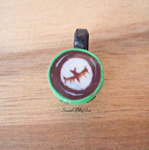 Green Monster Mug with Bat Latte Art Charm - SweetsOfMyOwn