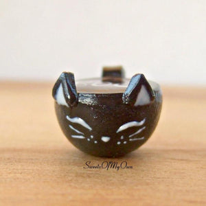 Black Cat Mug with Boo! Latte Art Miniature - SweetsOfMyOwn
