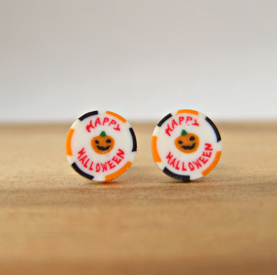 Happy Halloween Pumpkin Sliced Rock Candy Stud Earrings - SweetsOfMyOwn