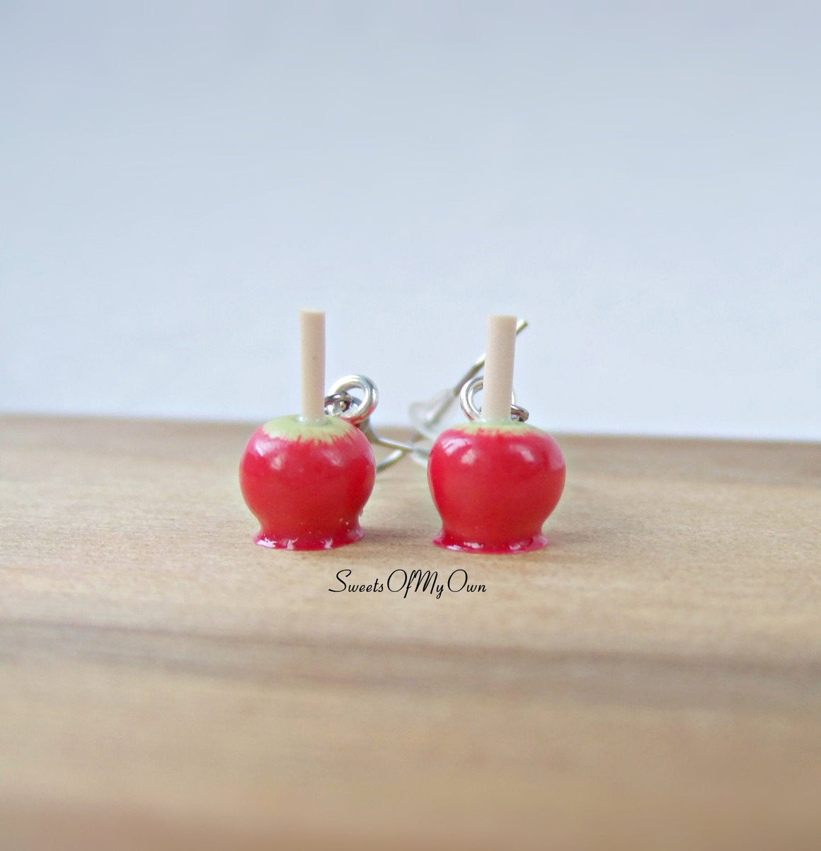 Red Toffee Apple Dangle Earrings