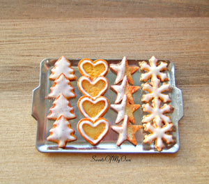 Miniature Christmas Biscuit Set - Shortbread Tree, Heart, Star, Snowflake 1:12 Scale - SweetsOfMyOwn
