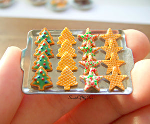 Miniature Christmas Biscuit Set - Shortbread + Wafer Tree, Star 1:12 Scale - SweetsOfMyOwn