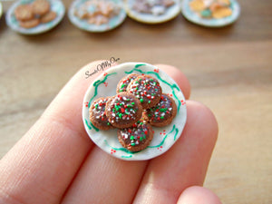 Plate of Miniature Double Chocolate Cookies 1:12 Scale - SweetsOfMyOwn