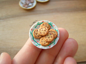 Plate of Miniature Chocolate Chip Cookies 1:12 Scale - SweetsOfMyOwn