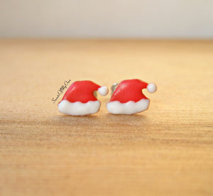 Gingerbread Santa Hat Biscuit Stud Earrings - SweetsOfMyOwn