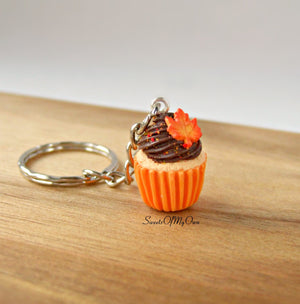 Chocolate Maple Leaf Cupcake Charm - Necklace/Charm/Keychain - MTO