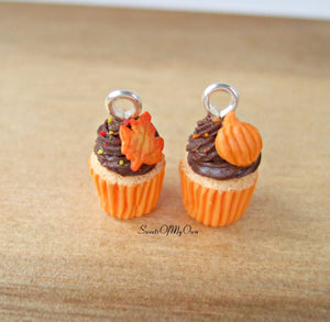 Chocolate Pumpkin Cupcake Charm (small) - SweetsOfMyOwn