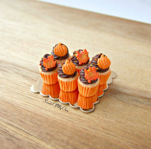 Miniature Chocolate Maple Leaf + Pumpkin Cupcakes 1:12 Scale - Set of 6 - SweetsOfMyOwn