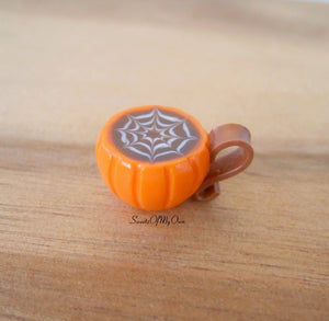 Pumpkin Mug with Cobweb Latte Art Miniature - Doll House 1:12 Scale - MTO