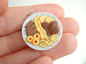 Plate of Miniature Mixed Biscuits - Jam Biscuits, Chocolate, Fig 1:12 Scale - SweetsOfMyOwn